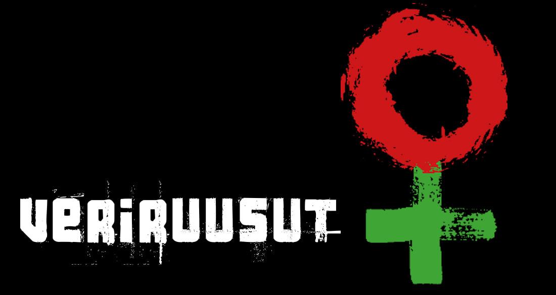 Kuvassa KOM-teatterin Veriruusut-logo, jossa naissymboli, joka on muodostettu punaisesta pallosta ja vihreästä plussasta.